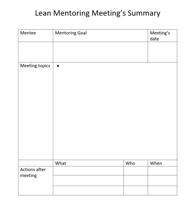 Lean Mentoring Program